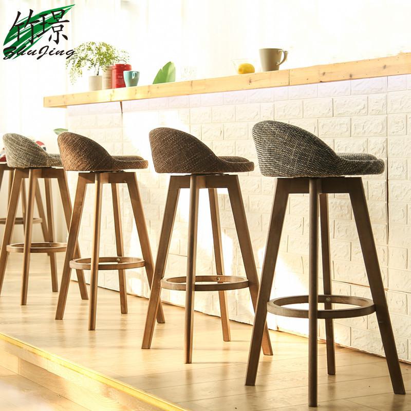竹璟实木吧椅榉木复古色白色旋转吧台椅吧凳酒吧椅高脚椅前台凳子