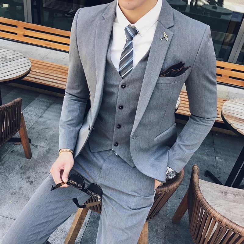 春夏款韩版男士修身一粒扣小西装套装发型师西服三件套新伴郎礼服