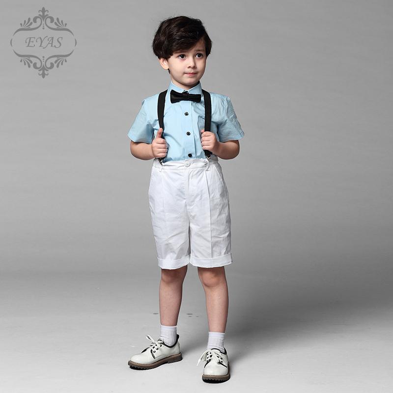 EYAS兒童禮服演出服小主持人合唱服夏 短袖花童禮服男童套裝潮