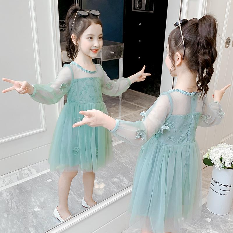 女童連衣裙春裝2020新款韓版中大童兒童紗裙洋氣女孩夏季公主裙子