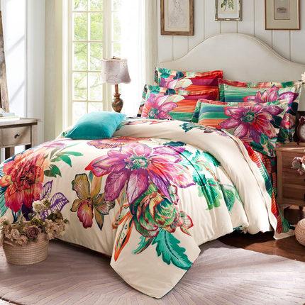 全棉加厚磨毛四件套1.5m纯棉3d床笠床单婚庆被套四件套纯棉1.8m床