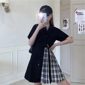 大码女装夏季新款收腰显瘦不对称格子裙胖MM时尚减龄西装领连衣裙