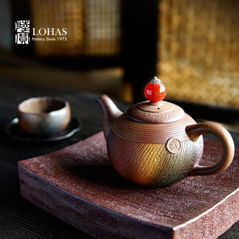 台湾陆宝品牌茶具岩藏春秋整套大茶组柴烧壶原矿收藏茶具大套组