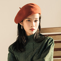 Hat female winter wool beret female Inverness autumn and winter Korean edition Japanese knitting painter hat pumpkin hat girl