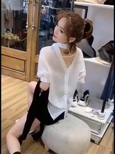 设计感小众短袖雪纺衬衫女夏微透性感洋气小衫后背镂空欧货上衣潮
