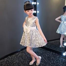 2020新款儿童公主女童短款亮片晚礼服舞蹈服花童装生日连衣裙演出
