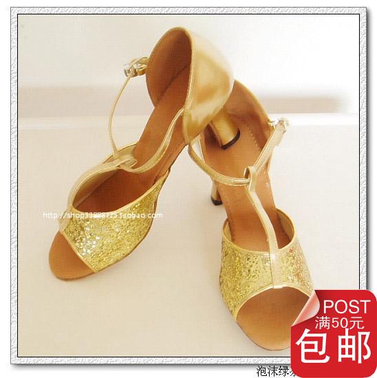 Национальный пост! Специальные акции золото женщин латинских танцев обувь танец обувь для танцев