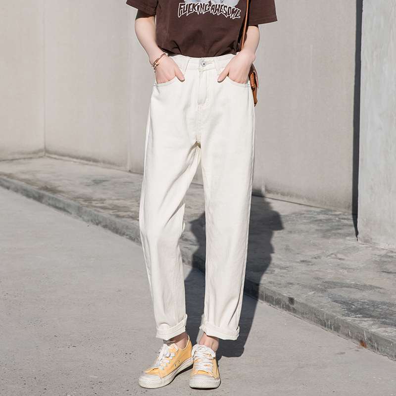 Korean chic off white autumn and winter show thin high waist straight pants loose pants casual jeans wide leg pants women