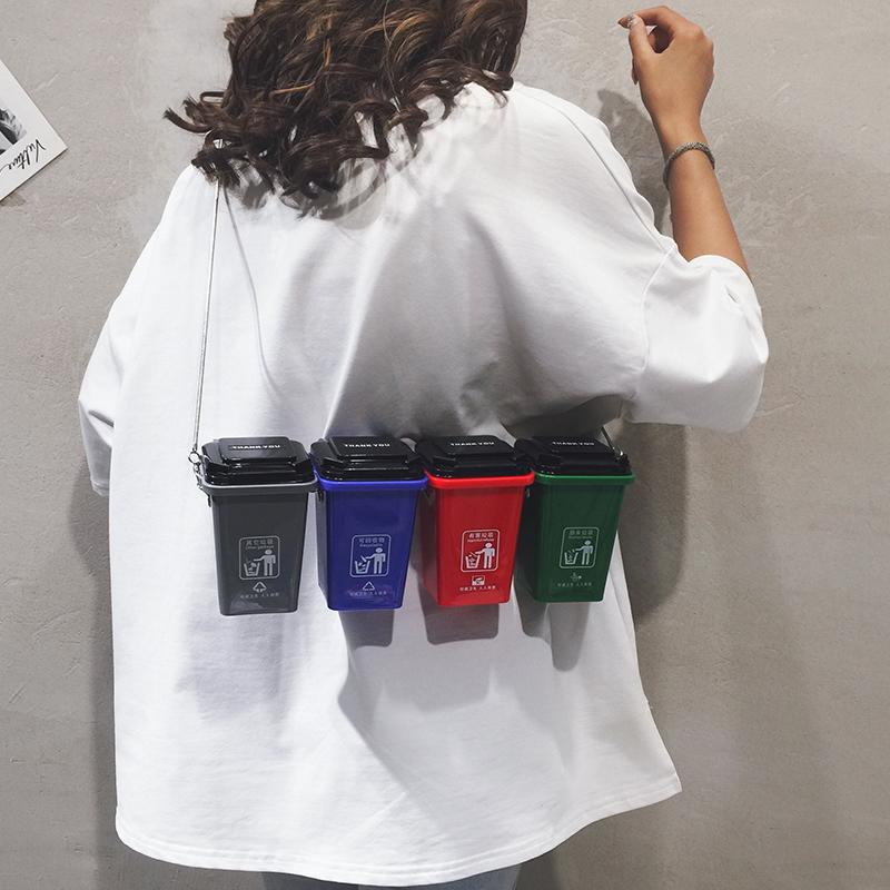 垃圾桶包包垃圾箱个性斜挎包四色上海新规垃圾分类新款2019包包女