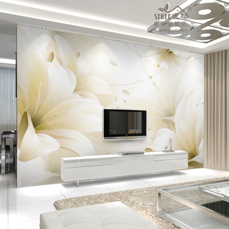 美式电视背景墙纸 客厅影视墙壁纸 卧室温馨无缝墙布纯纸墙纸