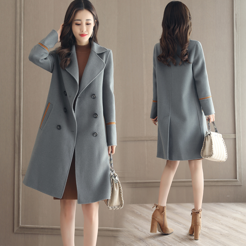 Woolen coat womens middle and long style 2019 popular autumn and winter new Korean double breasted Hepburn style woolen coat fashion