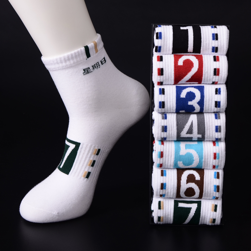 Socks mens four seasons socks mens pure cotton white sports socks short socks cotton spring and summer deodorant and sweat absorbing short tube