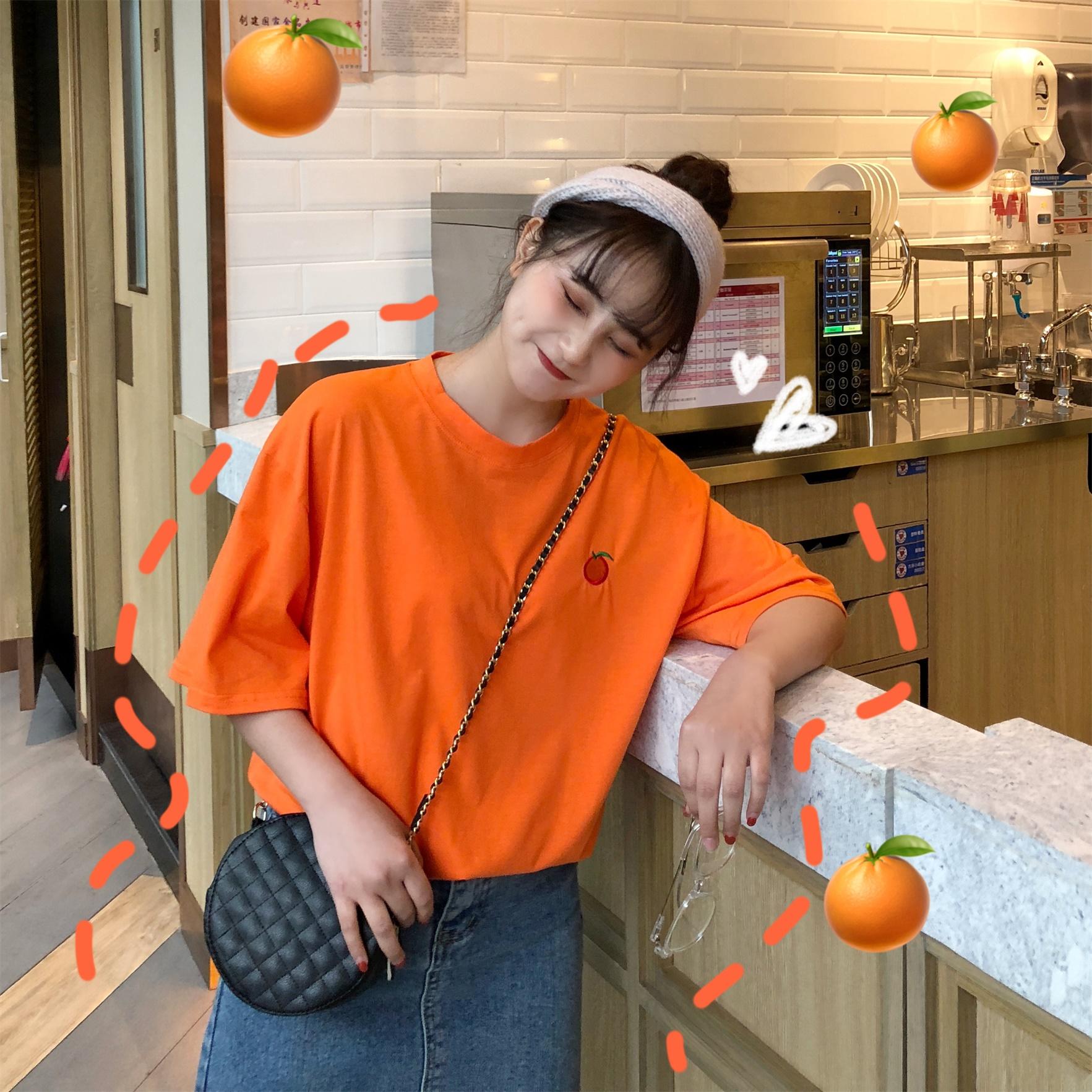 韩国风ins亮色橙色橘色水果风t恤限10000张券
