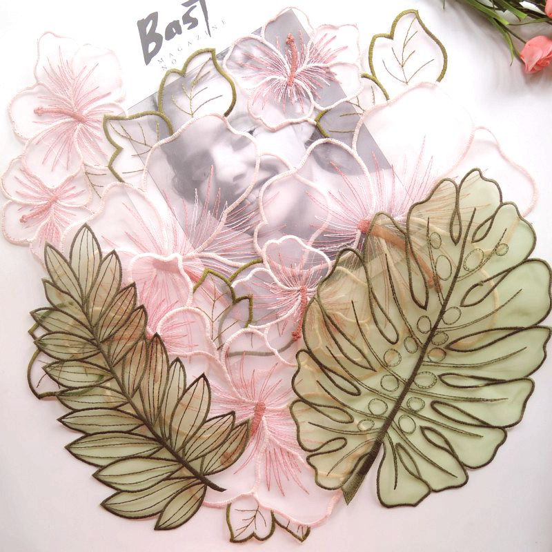 34蕾丝透明网纱刺绣欧根纱diy装饰补丁贴衣服裙子花朵蝴蝶布贴花