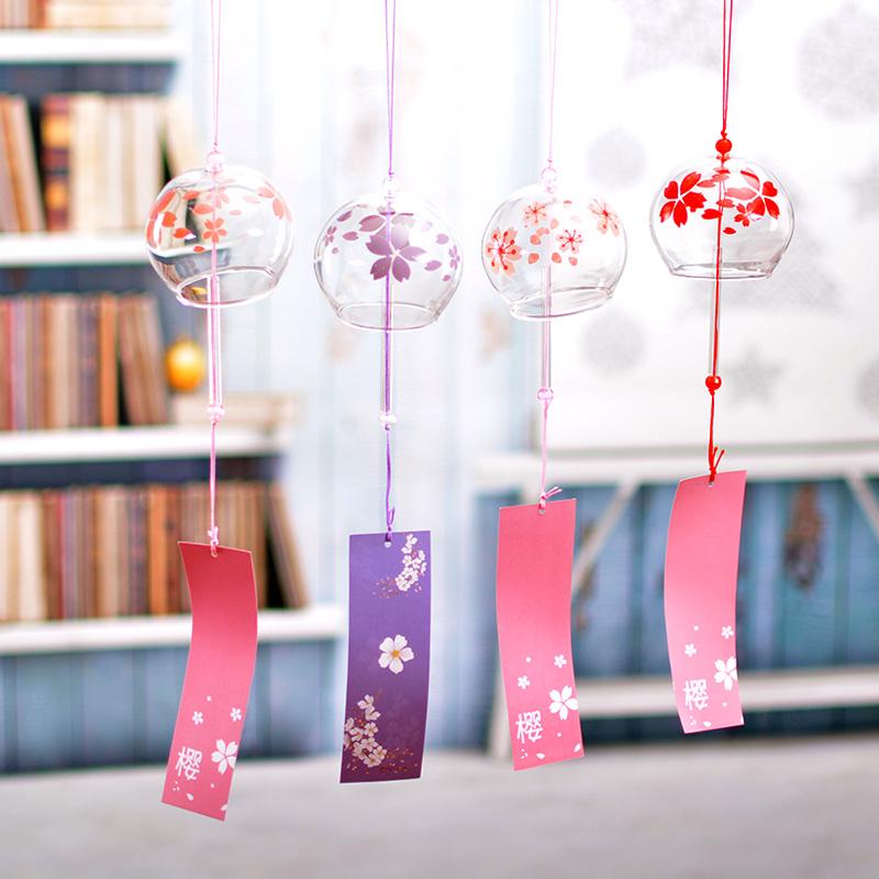 日式日本樱花手工玻璃和风礼物风铃
