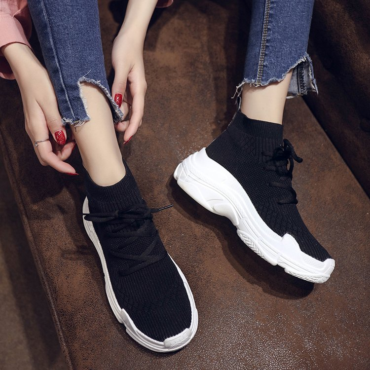 2019 new summer casual simple socks shoes womens Korean version thick bottom lace up hip hop hip hop high top shoes fashion