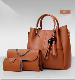 女包2020新款包包简约百搭斜挎包子母包三件套流苏单肩手提包水桶图片