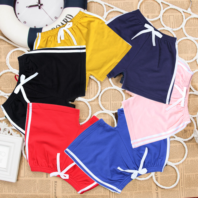 Childrens shorts summer thin girls boys wear medium and large childrens cotton 5-inch pants baby beach pants sports pants