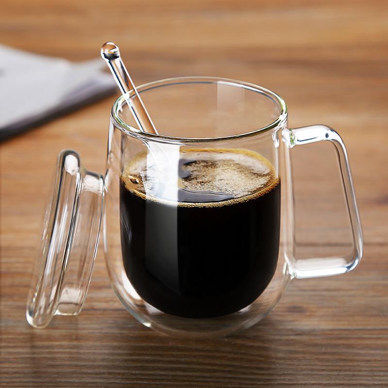 双层咖啡杯透明玻璃杯带把花茶杯男女办公水杯带盖马克杯子