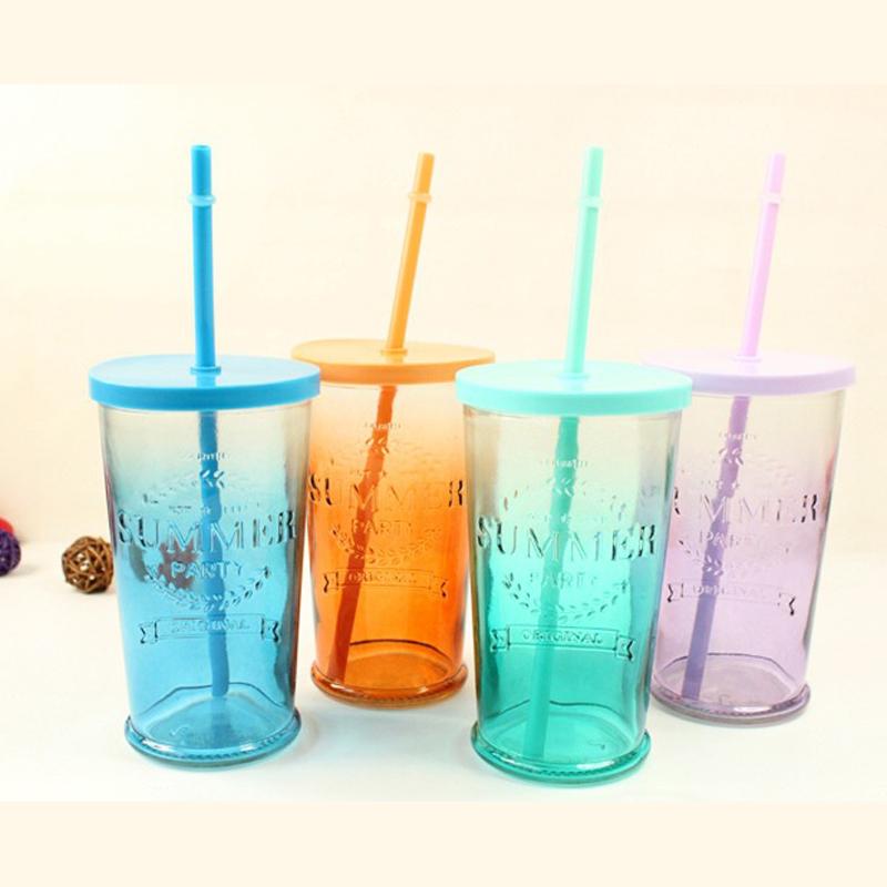 夏日飲品玻璃杯 小清新水杯子帶蓋吸管杯果汁杯飲料杯冷飲漸變色