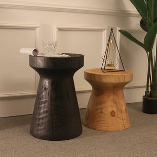 北欧实木边几简约客厅沙发角几简易原木茶几创意木墩圆形木桩凳子