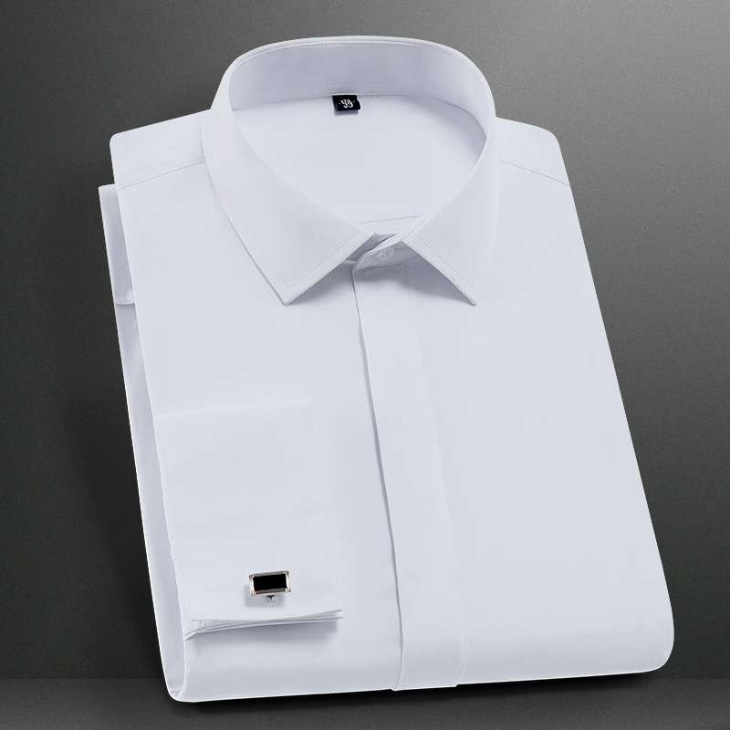 秋季商务法式衬衫男长袖修身免烫白色暗门襟衬衣寸上班工装职业装11月24日最新优惠
