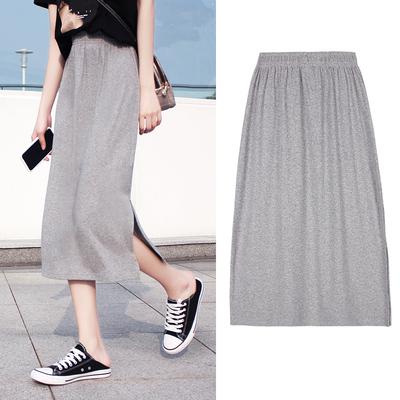 Gray half-length skirt female summer elastic waist straight split mid-length Yamamoto style student loose casual one-step skirt