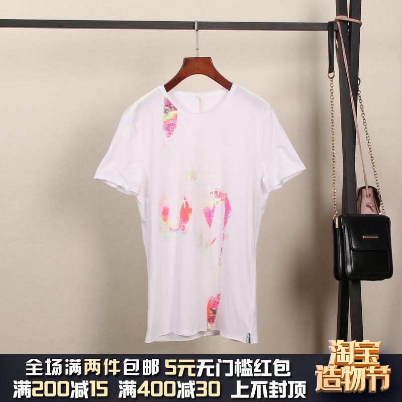 2019夏装佳然【MC】商场撤柜品牌折扣男装纯棉个性青年字母T恤