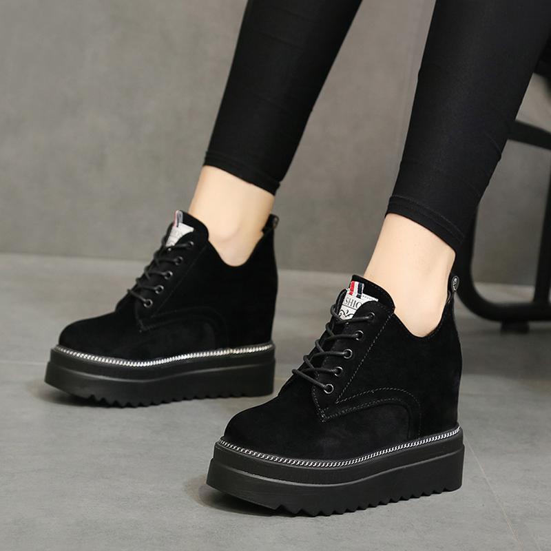 马丁靴女英伦风加绒内增高女鞋10cm增高小黑鞋显瘦厚底坡跟短靴女