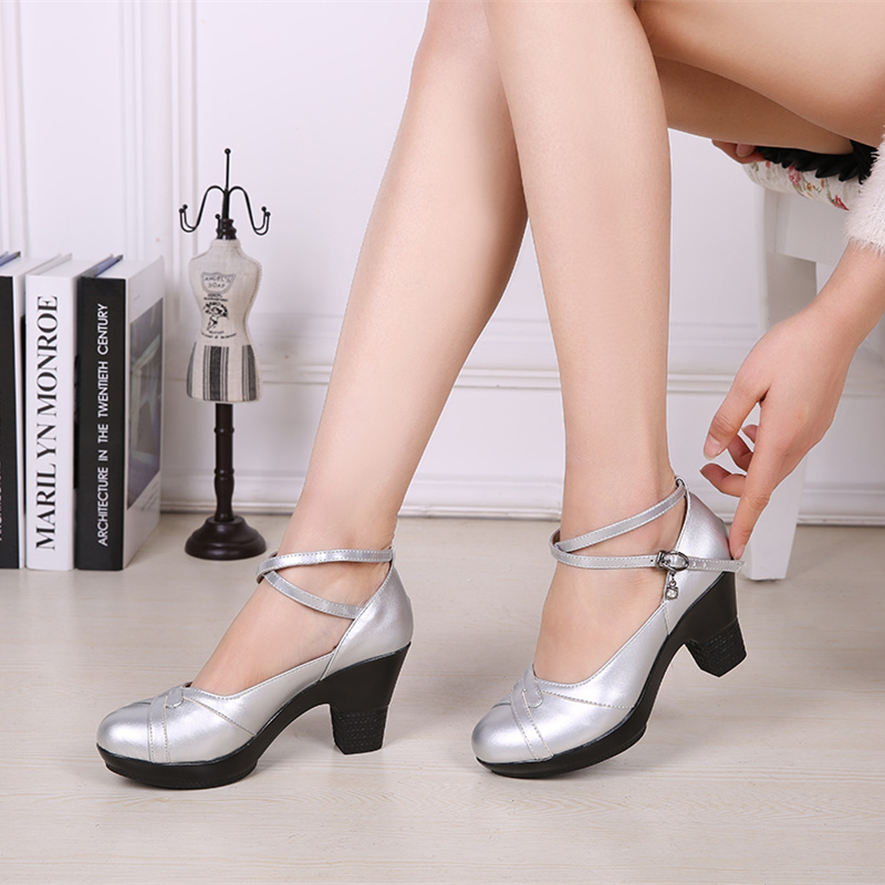 High heeled leather single shoes womens thick heeled dance shoes square dance shoes three step step dance shoes womens shoes black and silver