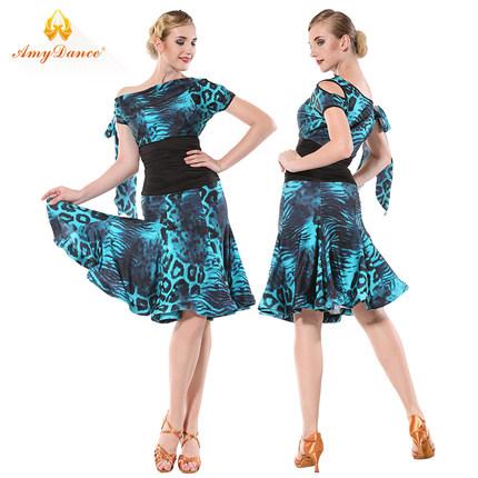 艾美舞服拉丁舞女成人连衣裙新款练习服修身露肩高腰吉特巴舞裙