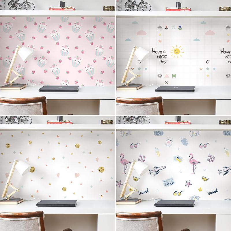 宿舍墙纸自粘卧室温馨贴纸房间桌面墙面改造装饰布置可擦洗壁纸