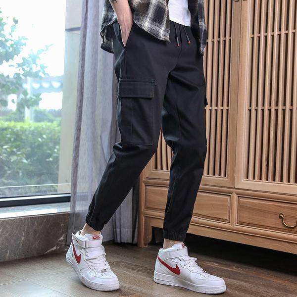 TS13853#超火的裤子男士潮牌个性潮流宽松文艺休闲裤男式工装裤