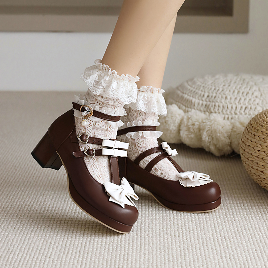 Japanese sweet Lolita bow Lolita single shoes womens thick heel middle heel t-buckle fairy shoes student shoes