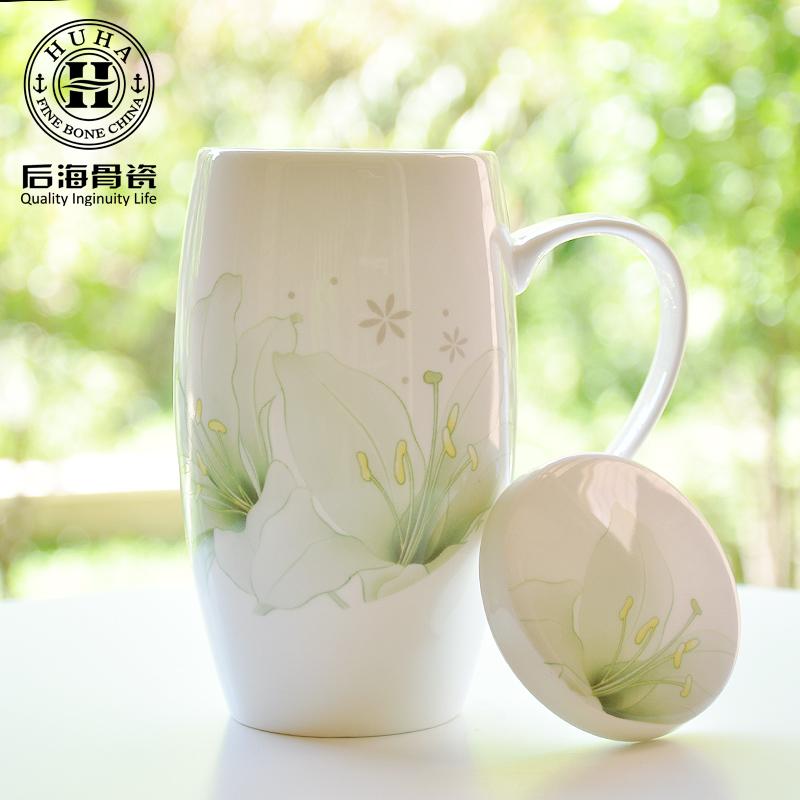 包郵贈杯墊骨瓷大水杯陶瓷大容量馬克杯帶蓋杯子 辦公室女簡約