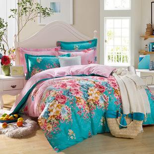 富安娜纯棉四件套全棉床笠斜纹被套床单1.5米/1.8m/婚庆床上用品