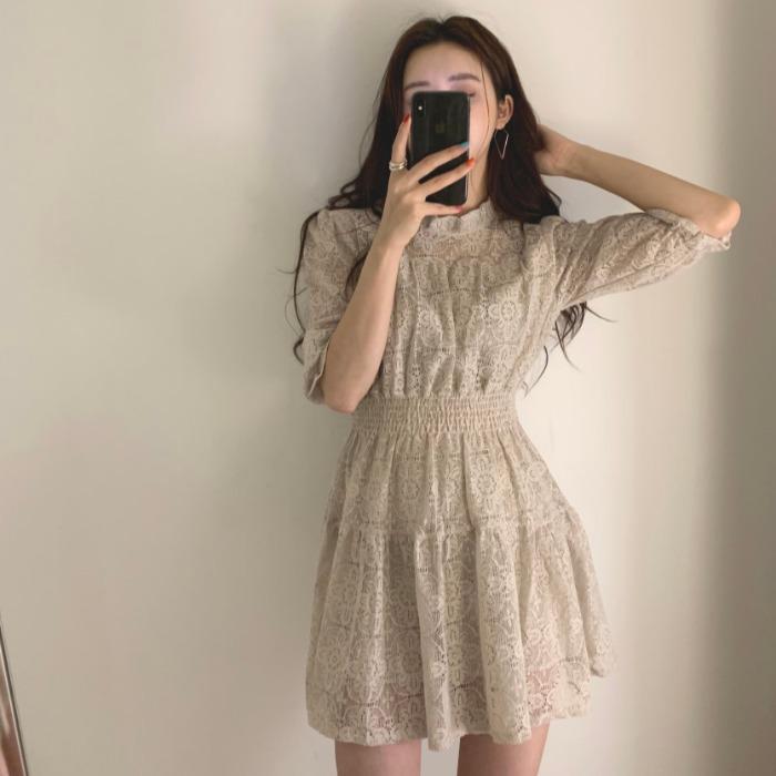 icc~韩国chic复古甜美超仙气质公主风优雅蕾丝短袖收腰连衣裙