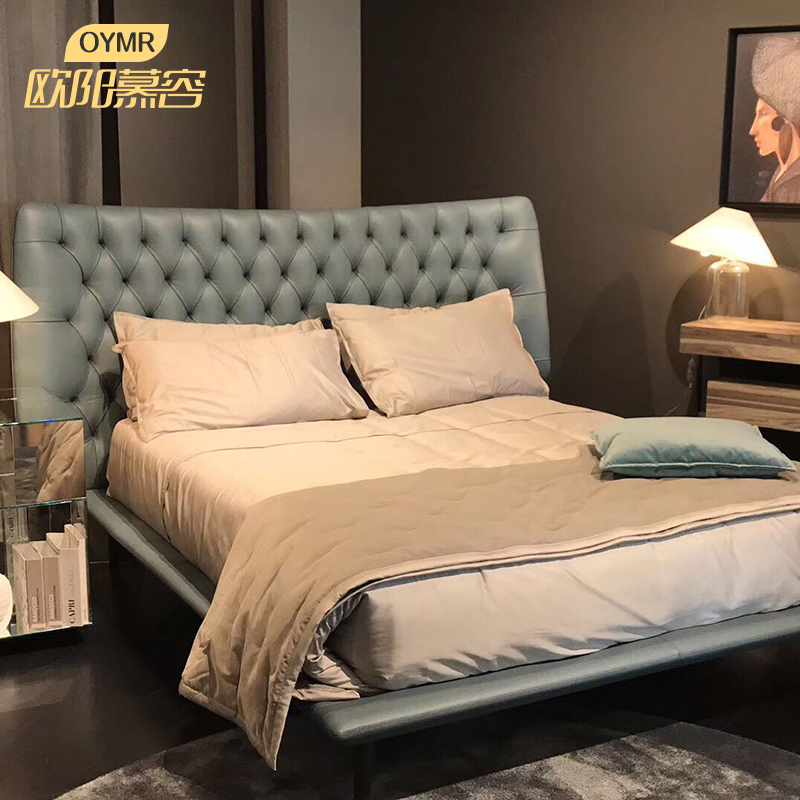 意大利风格真皮床北欧小户型简约现代1.8米1.5双人床主卧皮艺软床