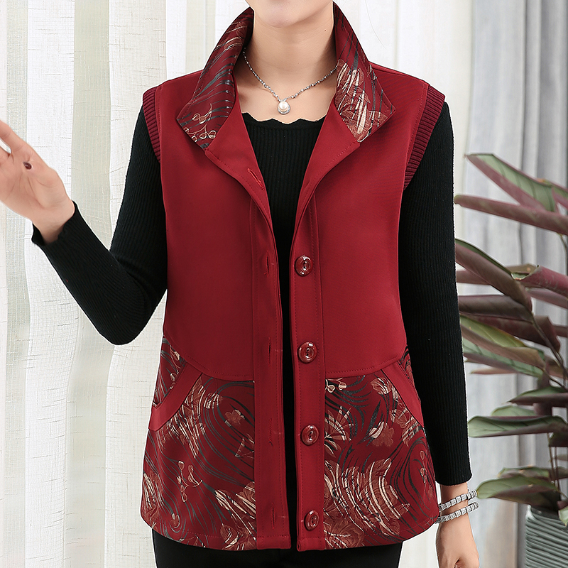 Waistcoat female middle-aged and old people wear large size outside spring and Autumn