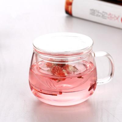 包�]花茶杯加厚玻璃杯泡茶三件杯���w�^�V耐�岜�子�k公室家用水杯