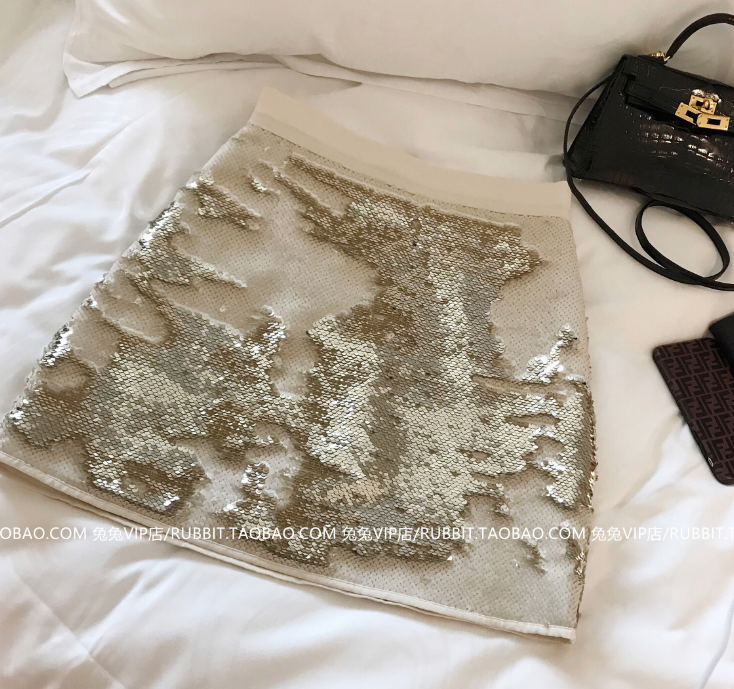 Rabbit private clothes early autumn 2019 womens new exclusive import double sided sequins BLING high waist skirt