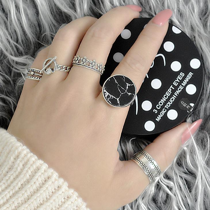 925 стерлингового серебра кольцо женщины Европы, простой и преувеличенных ретро мраморные открытия личности студентов выход Японии-Кореи моды