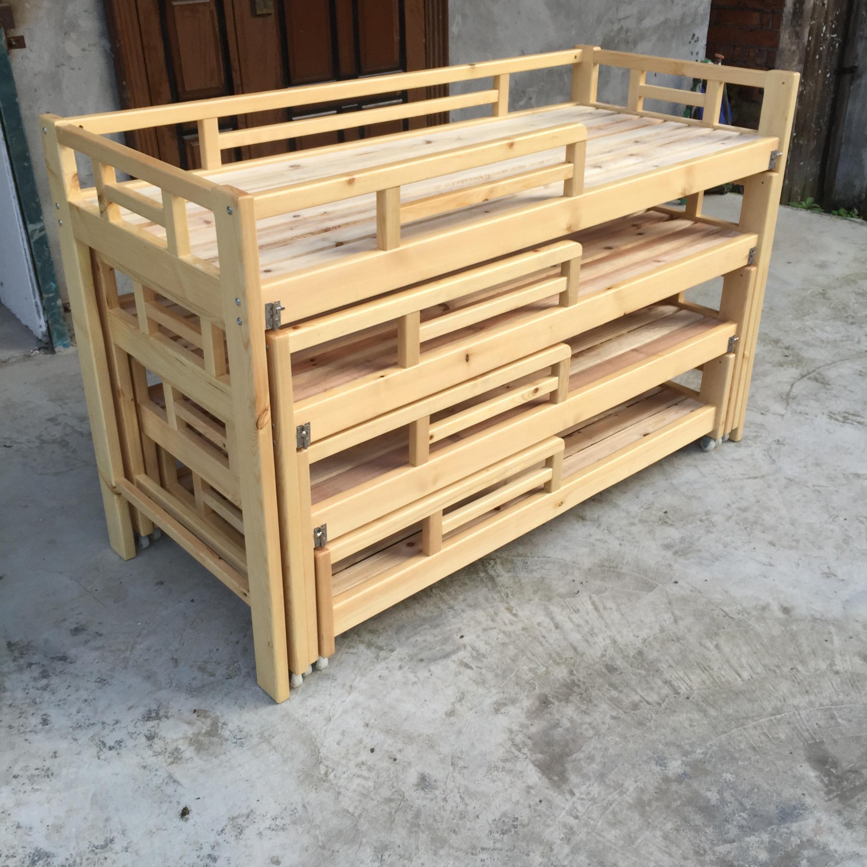 幼儿园床午睡床托管班小学生实木可拆装儿童简易多功能四层推拉床