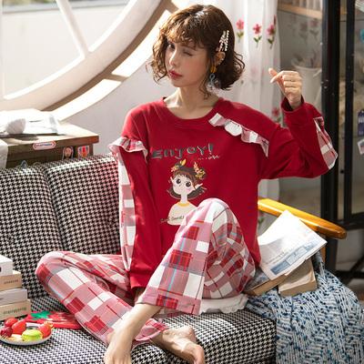 睡衣女春秋纯棉长袖韩版卡通甜美可爱套装秋冬格子网红爆款家居服