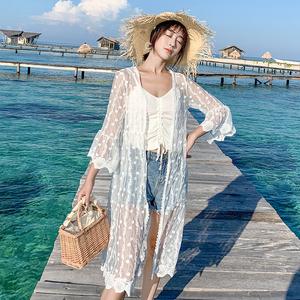 超仙外搭开衫女夏季薄款蕾丝镂空防晒衫中长款外套chic港味上衣