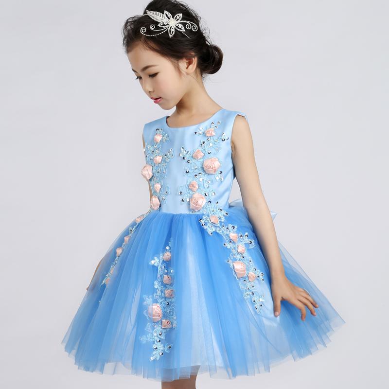 公主裙藍色花童禮服女童連衣裙婚紗蓬蓬裙六一兒童演出服秋裝