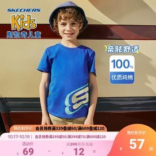 夏装 Skechers斯凯奇童装 男女童纯棉吸汗运动印花上衣儿童短袖 T恤