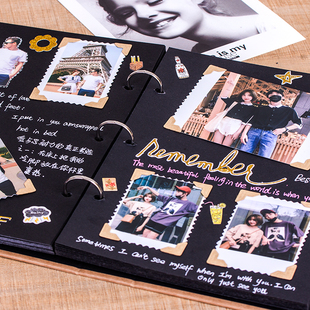 相册大本diy手工创意纪念册黑卡情侣浪漫生日礼物书照片定制影集品牌