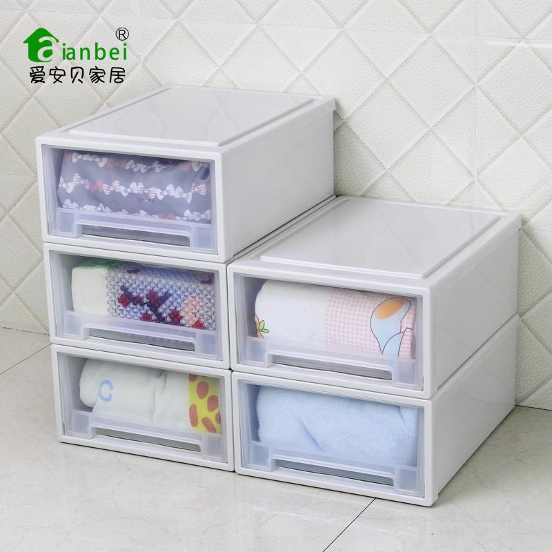 愛安貝收納櫃抽屜式收納箱透明塑料抽屜櫃 式儲物櫃衣櫃收納盒