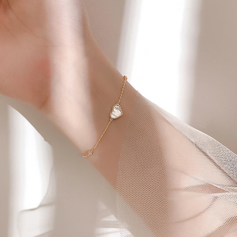 银春春925银贝壳爱心手链设计手环